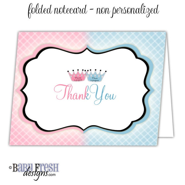 Twins Baby Shower Thank You Cards Prince And Princess Thank You