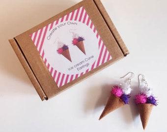 Ice Cream cone earrings Making Kit