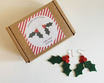Make your own Holly leaf earrings Kit