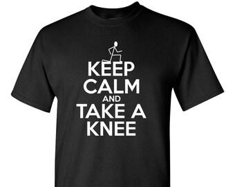 Keep Calm and Take A Knee  Black Lives Matter BLM Resist Protest Colin Kaepernick black shirt  T-shirt Sm-3XL