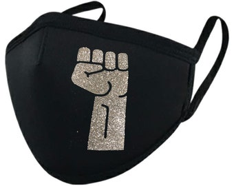 Silver Glitter Hand Protest Fist Face Mask