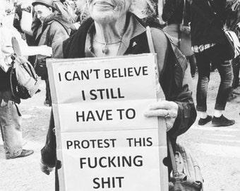 Womans March Woman Protest Sign  No Trump   T-shirt Sm-3XL