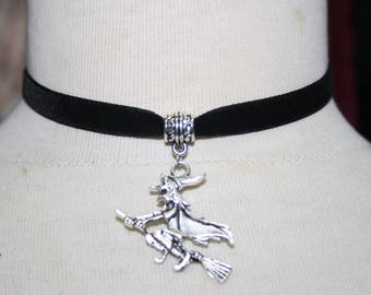 Witch   Charm Pendant ,  Velvet Ribbon Choker Necklace