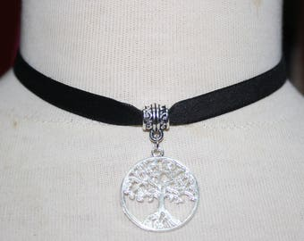 Tree of life   Charm Pendant ,  Velvet Ribbon Choker Necklace