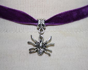Spider Charm Pendant ,  Velvet Ribbon Choker Necklace