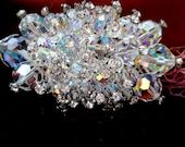 Vintage 1960s Large Brooch Pin Aurora Borelis Rhinestones and Crystal Beads Victorian Coat Hat Shawl Costume Jewelry Clear Rainbow