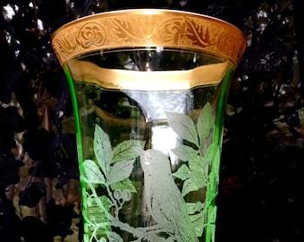 RARE Cambridge Art Glass Vase 1920 Gold Encrusted Uranium Glass Bird Butterfly (Bird on Branch Etching #717) Pattern #279 Style Was 360.00