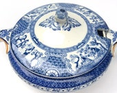 Antique Booths England Silicon China Tureen 1900s Ming Flow Blue Oriental Asian Holiday Table Serving Christmas Gifts