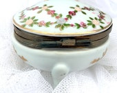 Antique Lot Of 3 Pieces Nippon Hand Painted Salt Shaker Norleans Porcelain Trinket Ring Box Hand Painted Roses Gold Cloissone Pill Box