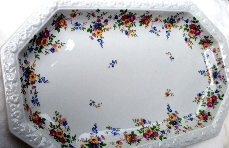 Vintage Rosenthal China Maria Pattern Selb Bavaria US Zone Platter Floral  Embossed Rim Shabby Chic Wedding Bridal Octagonal White Multi