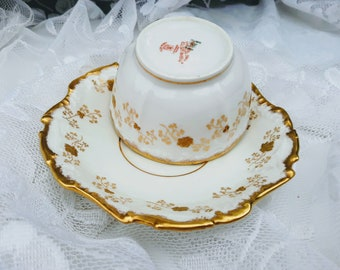 Antique 1880s Elite Works Limoges France Higgins & Seiter NY Hand Painted 22K Gold Design and Trims Embossed Scalloped Saucer Embossed Cup