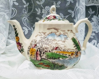 rSALE*Vintage Tea Pot Sadler England Country Life Farm Scene Florals Cottage Chic Marked Bottom Dining Serving Tea Party Water Trees