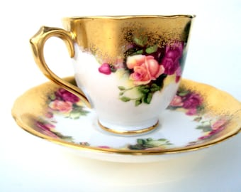 Vintage Royal Chelsea Bone China Demitasse Cup and Saucer,Golden Rose,English,Gilt with Roses,Footed,1950s,Dining Serving,Tea,Espresso,Pink