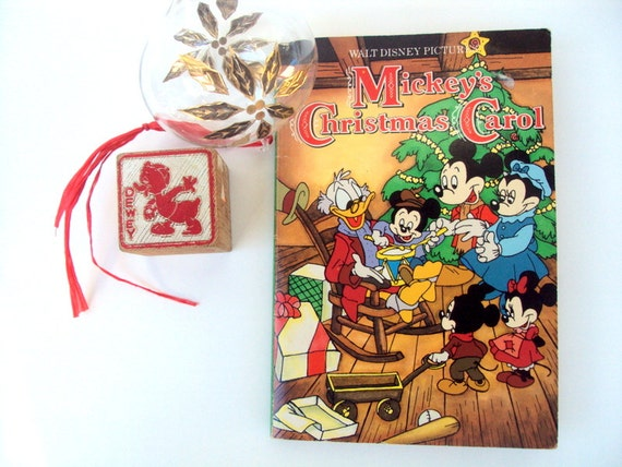 Mickeys Christmas Carol Book.Vintage Mickey S Christmas Carol Book 1980 S Illustrated Disney Mickey Minnie Mouse Holiday Keepsake Children Mcsrooge Duck Collectible Read