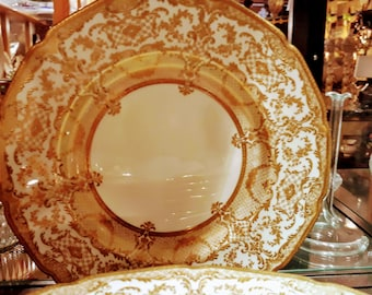 OFFERS ACCEPTED Royal Doulton Tiffany & Co. New York Gold Encrusted Raised Paste BB129 H4332 12 Dinner Plates Dining Serving Victorian Era