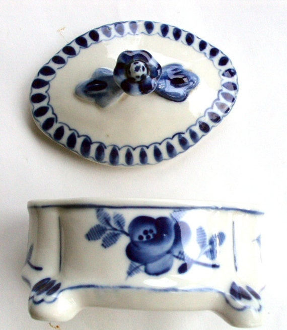 Vintage Gzhel Blue and White Russian pottery collection