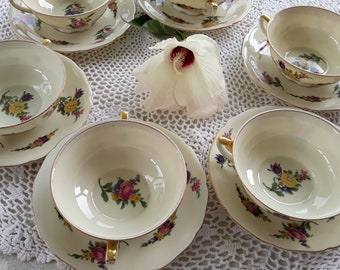 Vintage Bone China Set of 6 Soup Bowls and Saucers 1930s Made in Czechoslovakia Dining Serving Floral French Country Shabby Chic