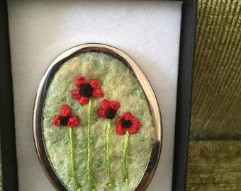 OOAK felted Poppy brooch