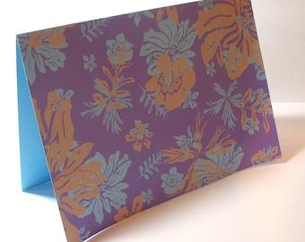 Purple Floral Greeting Card - Silkscreen Print