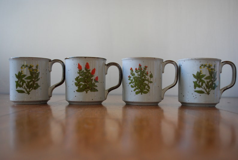 2951729bac6 Four Assorted Floral Takahashi Coffee Mugs - Stoneware Pottery - Brown  Speckled Glaze - Orange and Yellow Flowers - 1970's - Retro