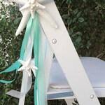 Beach Wedding Decor Set of 10 Starfish Chair Decorations - 24 Ribbon Choices - coastal nautical star fish pew decoration