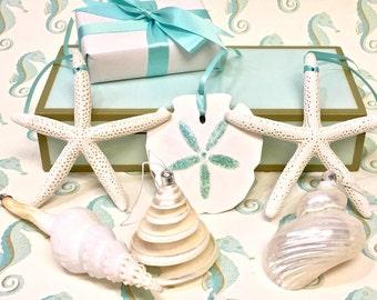 Seashell Christmas Ornaments - S/6 beach ornaments sea shells star fish starfish sand dollars