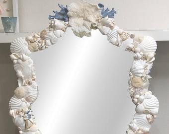 Beach Decor - Seashell Mirror -  coastal/nautical/sea shell/seashells/sea shells/beach house