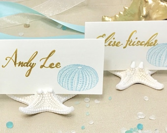 Beach Weddings - 50 Starfish Card Holders -  Coastal Showers Dinners star fish sea shells place cards dessert table cards