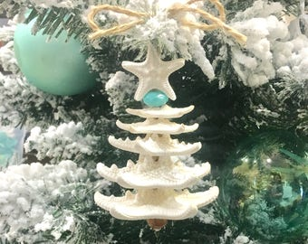 starfish christmas tree ornament free shipping coastal christmas ornament beach decor beach decor sea shell ornament star fish