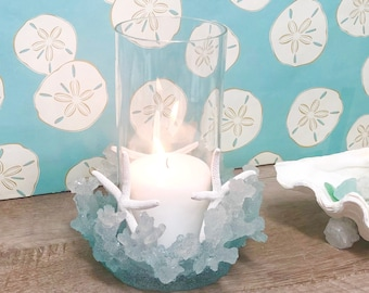 Aqua Coral Candleholder - beach coastal decor patio candles