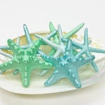 Beach Decor - Hand-Painted Natural Starfish Set of 3, 5 or 7 Aqua and Mint - Wedding Decor Mermaid Party