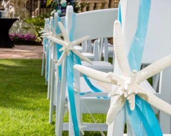 Beach and Coastal Wedding Decor - Starfish Chair Decoration - Priced Individually - Many Ribbon Colors - nautical pew decoration beach decor