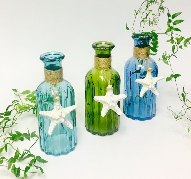 Beach Decor Glass Bottle With Natural Starfish And Optional Etsy