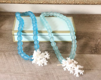 Recycled Glass Beads with Natural Lace Coral - Large 18mm Beads - Choose Blue or Aqua Beads - coastal/beach/home decor