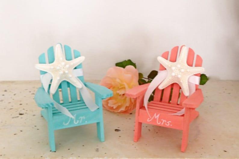 819e180d23426e Beach Wedding Cake Topper 2 Mini Adirondack Chairs with Starfish
