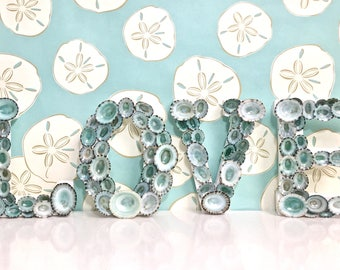 """Beach Decor - """"LOVE"""" Letters with Natural Blue Green Limpet Shells - shell letters seashell letters sea shell letters"""