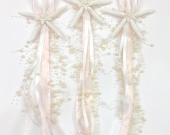 Beach Wedding Chair Decoration with Starfish + Ribbons + Beaded Garland - Sold Individually - Many Ribbon Colors available