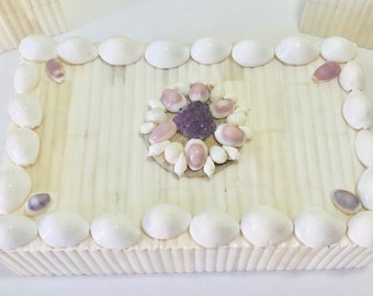 Ribbed Bone Inlaid Box with Amethyst Gem and Shell Decoration - coffee table decor/cocktail table/home decor/coastal/beach