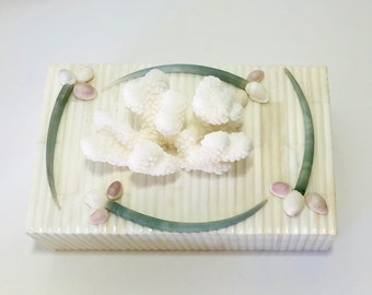 Ribbed Bone Inlaid Box with Coral and Shells - coffee table/cocktail table/table decor/beach coastal decor
