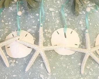 Beach Christmas Ornaments, Set of 6, Seashell Ornaments, Coastal, Beach Christmas Decor, Beach Decor, Natural Starfish and Sand Dollars Xmas