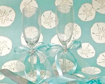 Beach Wedding Champagne Glasses - Set of 2 - coastal wedding toasting glasses - ON SALE - Previous price 39 Dollars