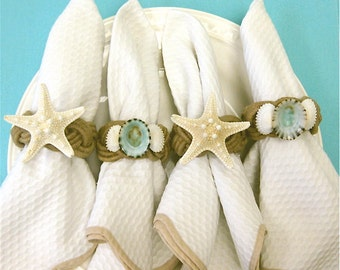 Beach Decor - Seashell and Starfish Napkin Rings - Seashells blue aqua table  sea shells