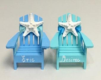 Beach Wedding Cake Topper - 2 Mini Adirondack Chairs with Starfish -  6 Chair Colors - 23 Ribbon Choices - Beach Theme/Mr. and Mrs.
