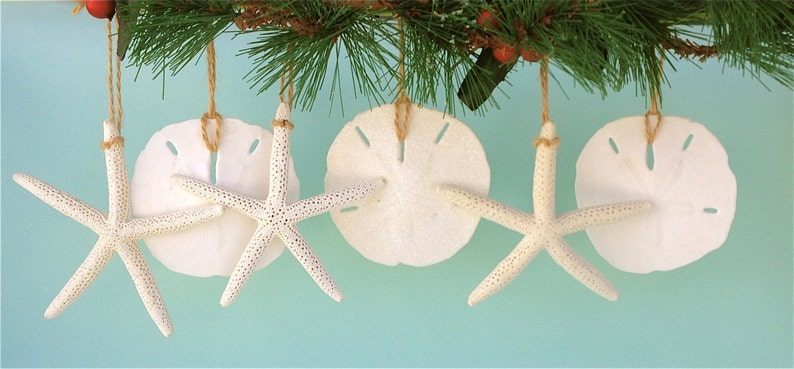Beach Christmas Ornaments Set of 6 Ornaments Coastal image 0