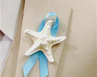 Playa boda ramo de estrellas de mar con cinta, Prendedor de estrella de mar, novio Pin de solapa estrellas de mar, peces estrella flor en el ojal, peces estrellas Pin de solapa
