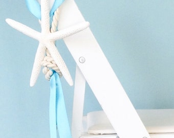 Beach Wedding Decor Starfish Chair Decoration With Cording And Ribbon   24  Ribbon Colors Available