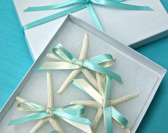 Starfish Boutonniere with Ribbons for Beach Wedding - 24 Ribbon Choices