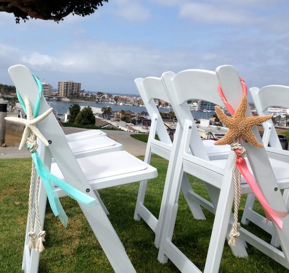 Beach Wedding Decorations Ideas: Beach Wedding Starfish Chair Decoration With Satin And