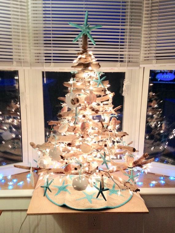 Starfish Xmas Tree Topper Natural Starfish Hand Painted Aqua Christmas Decoration Beach Star Fish Nautical
