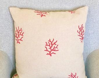 "Coastal Style Linen Pillow Cover 16""x16""  Red Coral Design - toss pillow throw pillow beach coastal decor couch sofa"